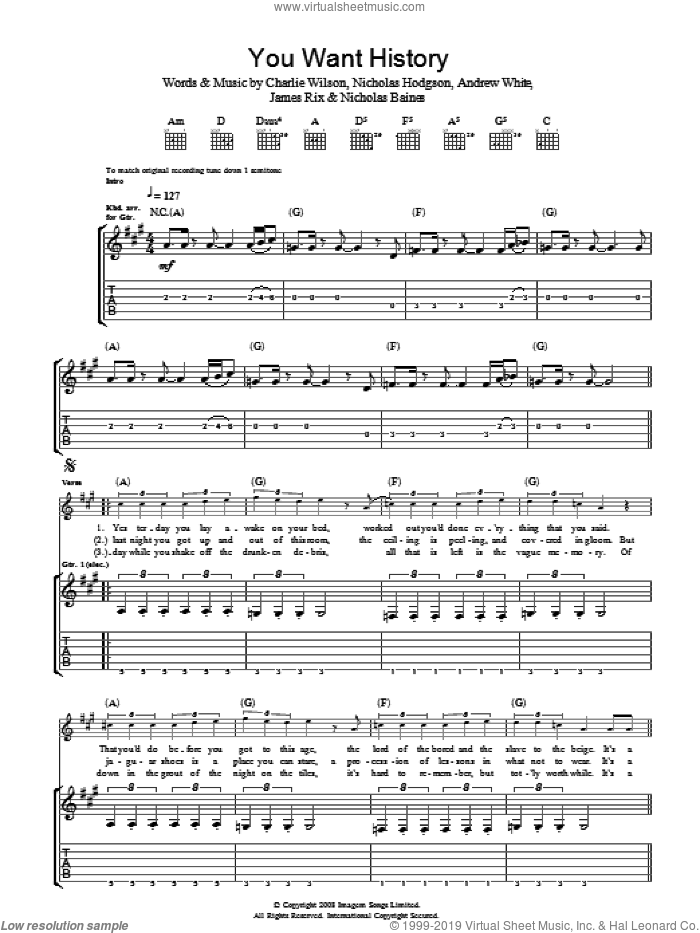 You Want History sheet music for guitar (tablature) by Kaiser Chiefs and Charlie Wilson, intermediate guitar (tablature). Score Image Preview.