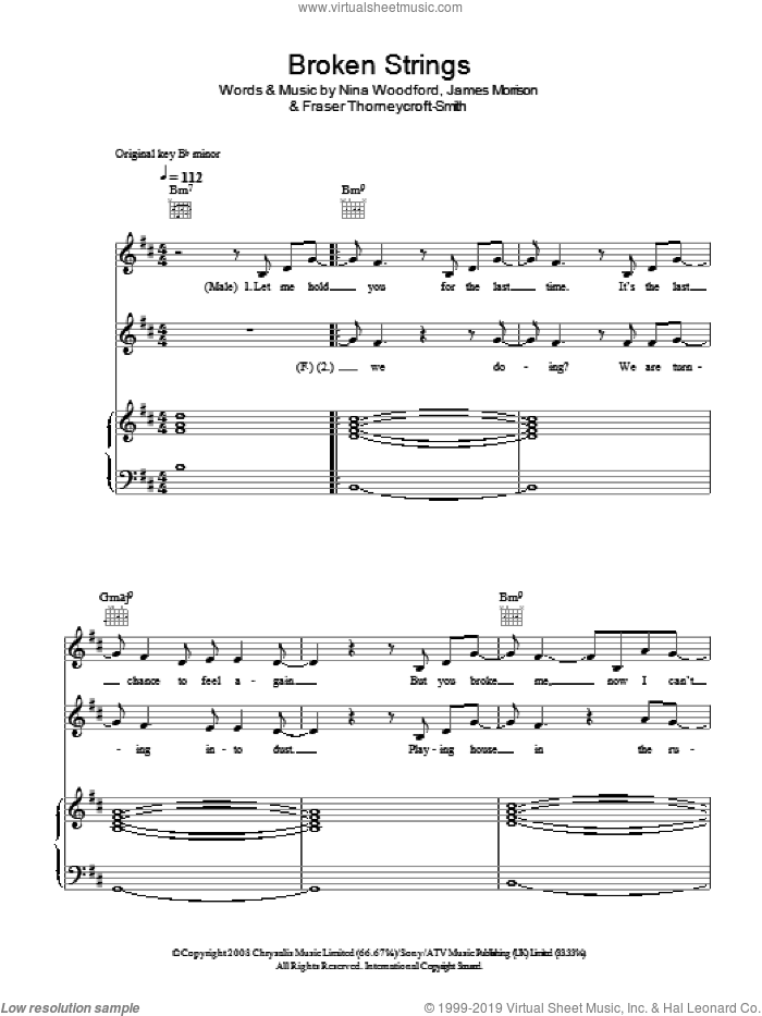 Broken Strings sheet music for voice, piano or guitar by James Morrison featuring Nelly Furtado, James Morrison and Nelly Furtado. Score Image Preview.