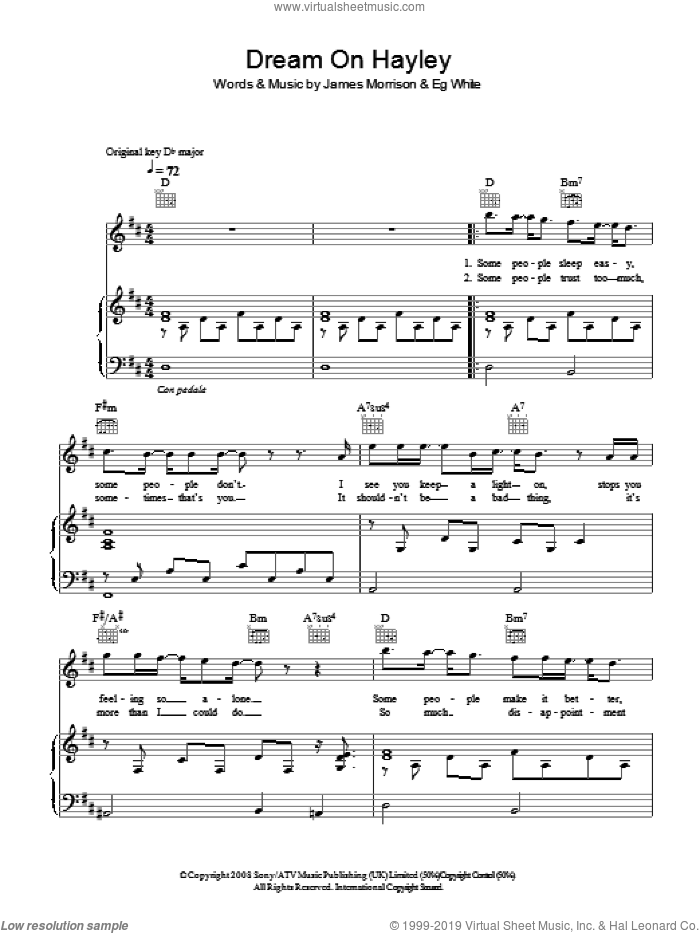 Dream On Hayley sheet music for voice, piano or guitar by Eg White
