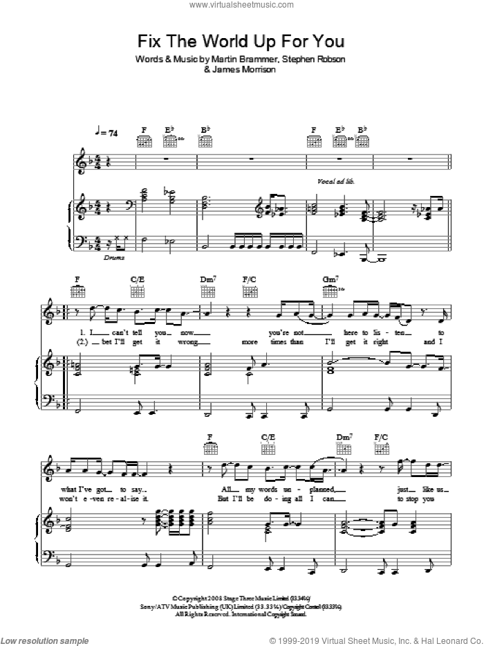 Fix The World Up For You sheet music for voice, piano or guitar by Steve Robson, James Morrison and Martin Brammer. Score Image Preview.