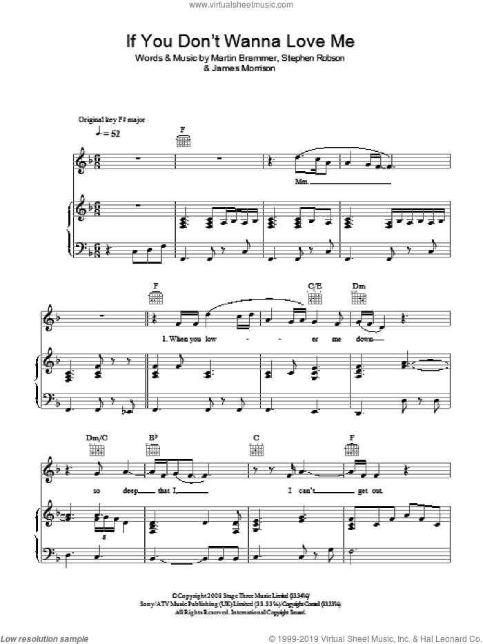 If You Don't Wanna Love Me sheet music for voice, piano or guitar by Steve Robson, James Morrison and Martin Brammer. Score Image Preview.