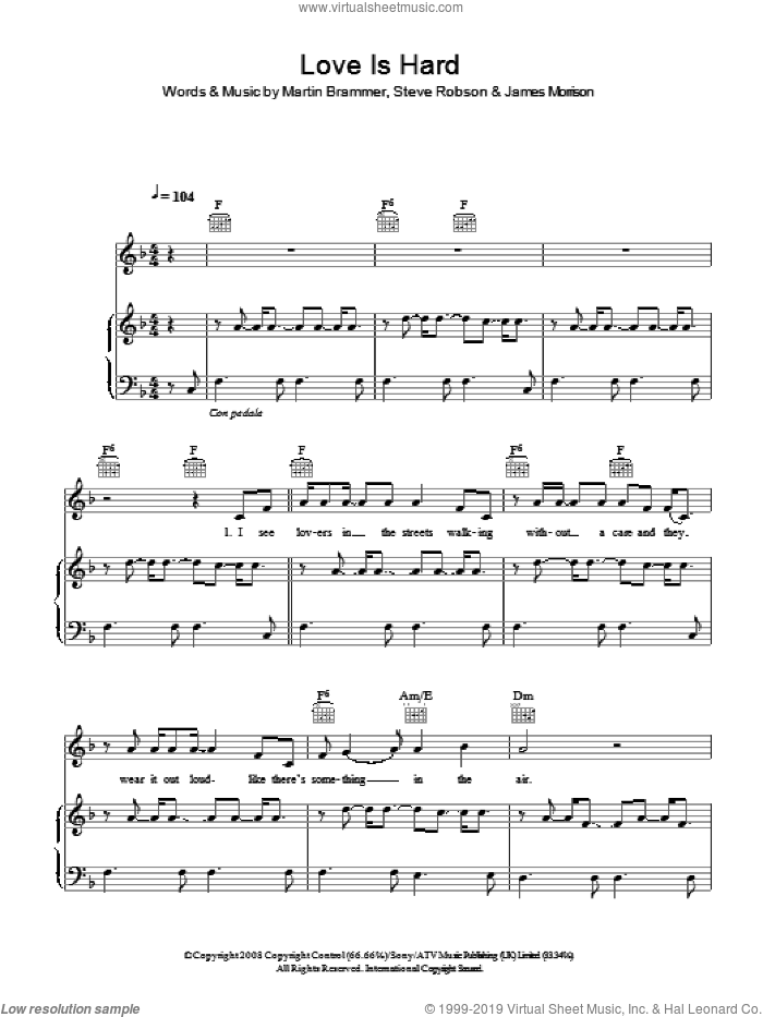 Love Is Hard sheet music for voice, piano or guitar by James Morrison, intermediate voice, piano or guitar. Score Image Preview.