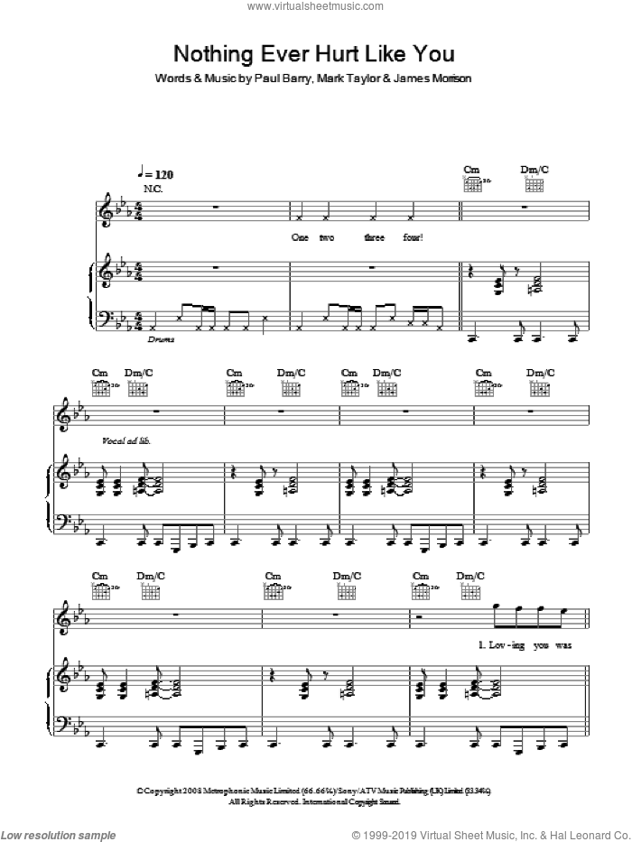 Nothing Ever Hurt Like You sheet music for voice, piano or guitar by Paul Barry