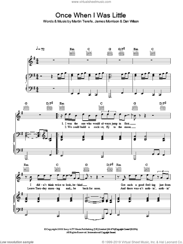 Once, When I Was Little sheet music for voice, piano or guitar by Martin Terefe, James Morrison and Dan Wilson. Score Image Preview.