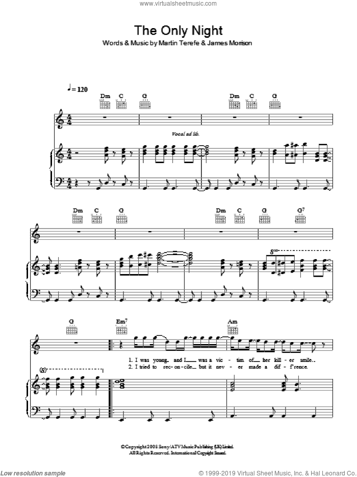The Only Night sheet music for voice, piano or guitar by Martin Terefe