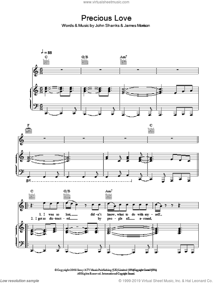 Precious Love sheet music for voice, piano or guitar by James Morrison and John Shanks. Score Image Preview.