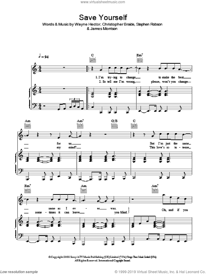 Save Yourself sheet music for voice, piano or guitar by Wayne Hector, James Morrison, Chris Braide and Steve Robson. Score Image Preview.