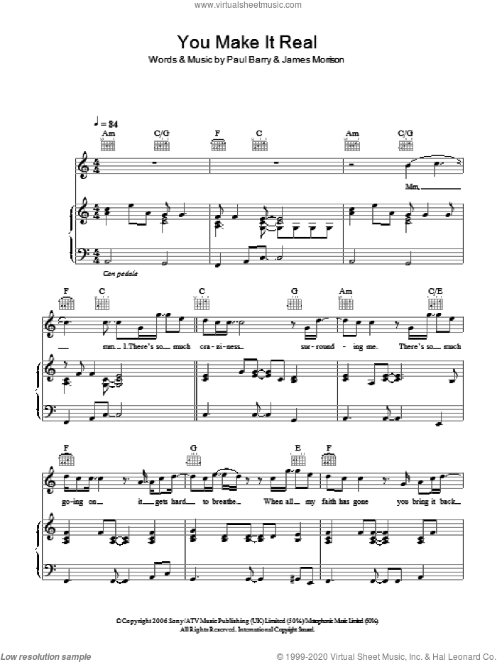 You Make It Real sheet music for voice, piano or guitar by Paul Barry