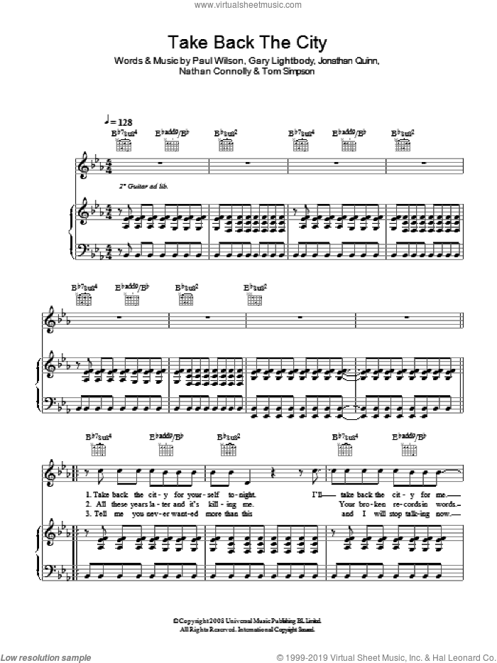 Take Back The City sheet music for voice, piano or guitar by Gary Lightbody