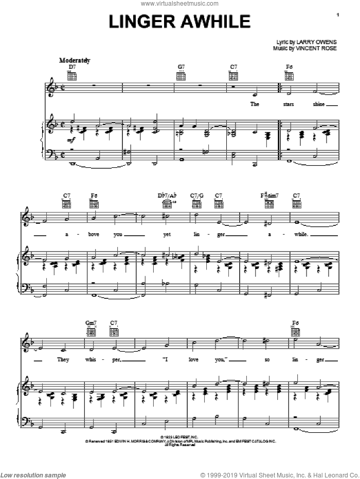 Linger Awhile sheet music for voice, piano or guitar by Duke Ellington, Ben Webster, Sarah Vaughan, Harry Owens and Vincent Rose, intermediate skill level