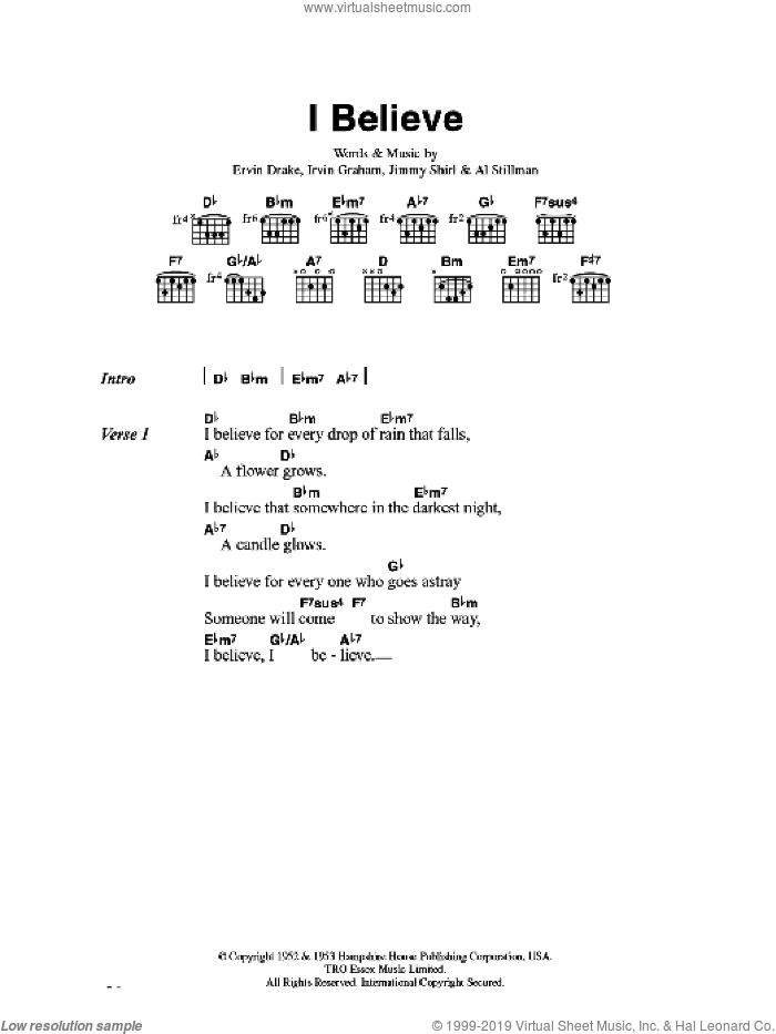 I Believe sheet music for guitar (chords) by Al Stillman