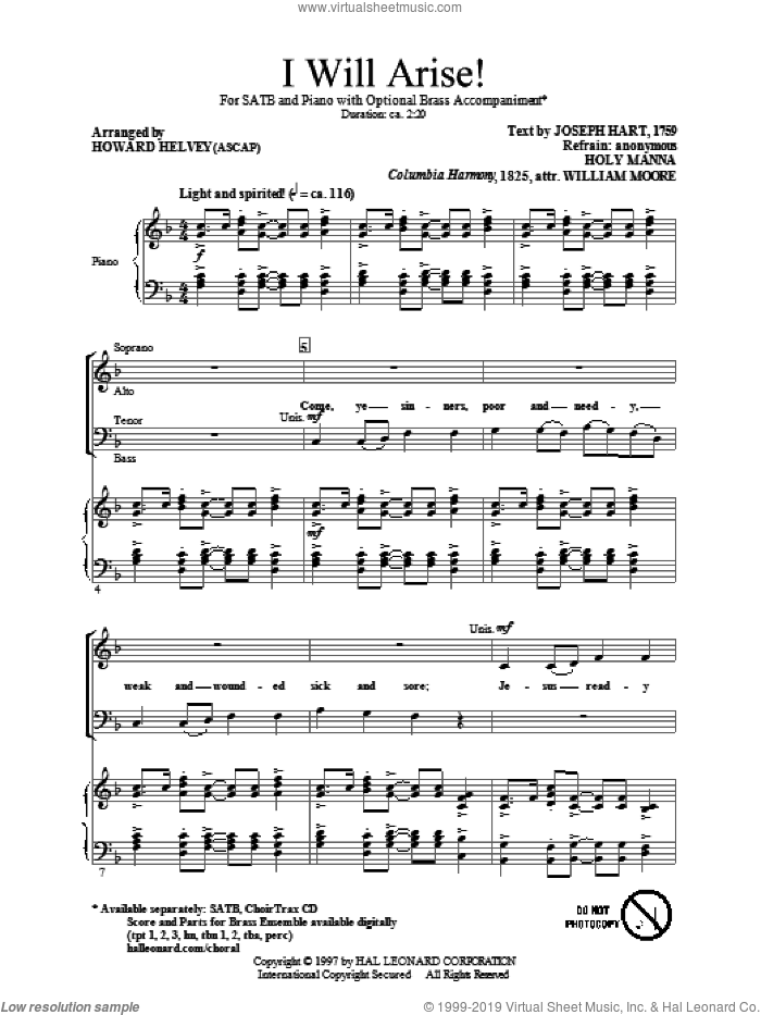 I Will Arise! sheet music for choir and piano (SATB) by Joseph Hart, Howard Helvey and William Moore. Score Image Preview.