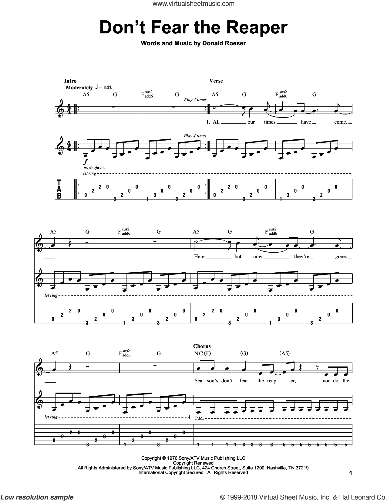 Don't Fear The Reaper sheet music for guitar (tablature, play-along) by Blue Oyster Cult. Score Image Preview.