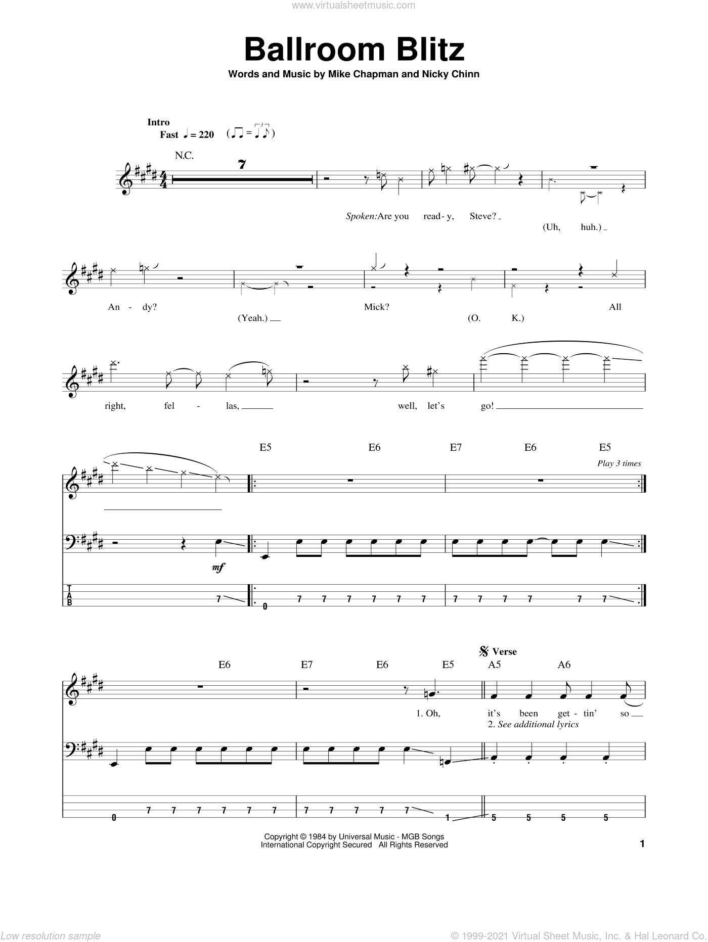 Ballroom Blitz sheet music for bass (tablature) (bass guitar) by Nicky Chinn and Mike Chapman. Score Image Preview.