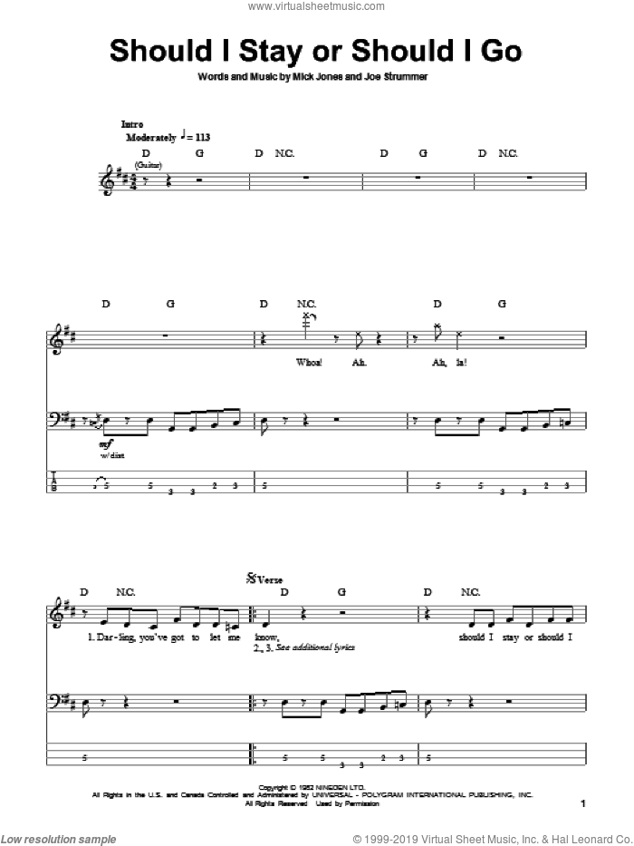 Should I Stay Or Should I Go sheet music for bass (tablature) (bass guitar) by The Clash, Joe Strummer and Mick Jones, intermediate. Score Image Preview.