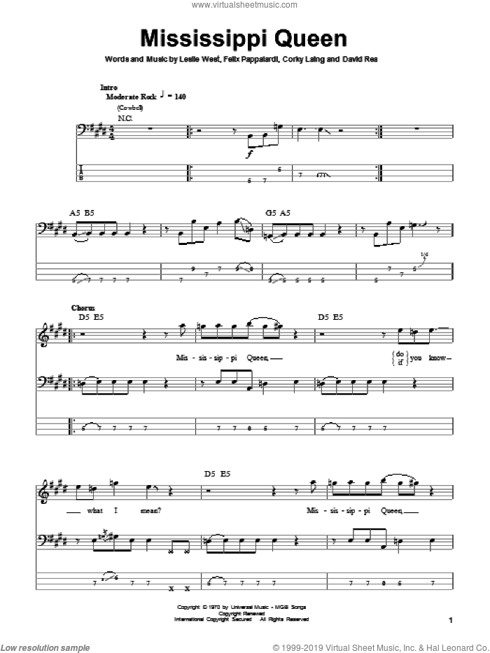 Mississippi Queen sheet music for bass (tablature) (bass guitar) by Mountain, Corky Laing, David Rea, Felix Pappalardi and Leslie West, intermediate skill level