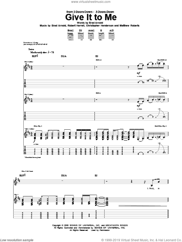 Give It To Me sheet music for guitar (tablature) by 3 Doors Down, Brad Arnold, Christopher Henderson, Matthew Roberts and Robert Harrell, intermediate skill level
