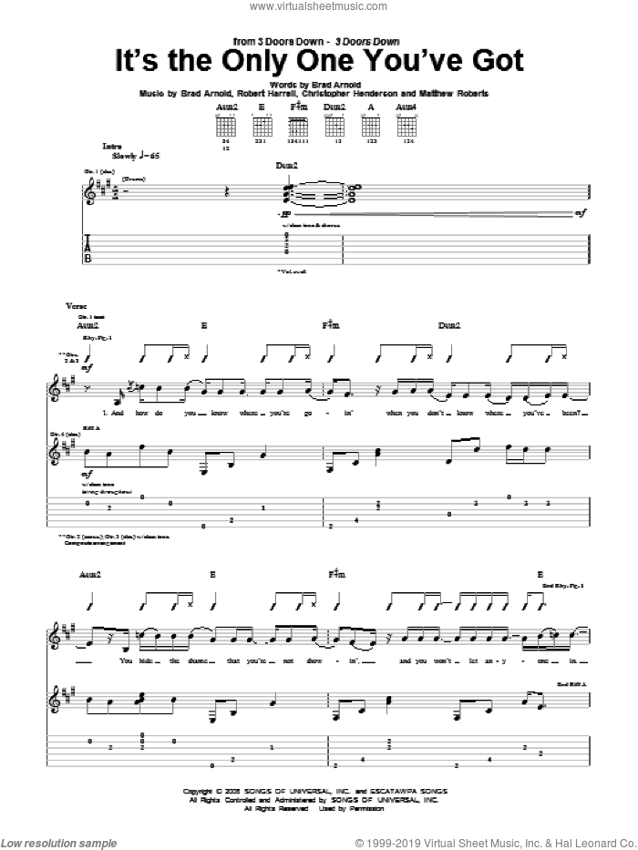 It's The Only One You've Got sheet music for guitar (tablature) by 3 Doors Down, Brad Arnold, Christopher Henderson, Matthew Roberts and Robert Harrell, intermediate skill level