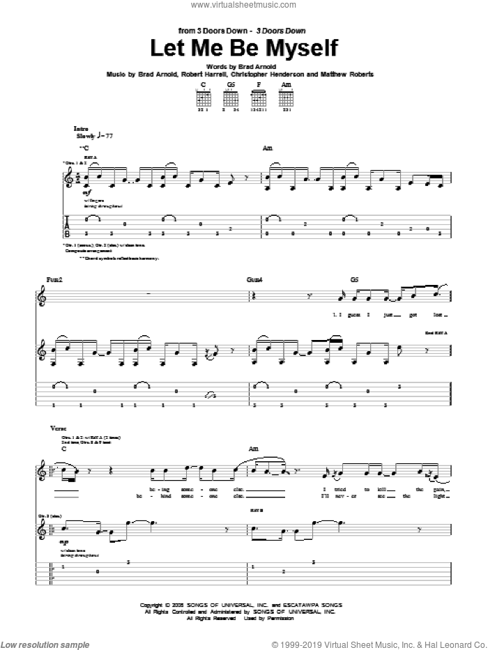 Let Me Be Myself sheet music for guitar (tablature) by 3 Doors Down, intermediate guitar (tablature). Score Image Preview.
