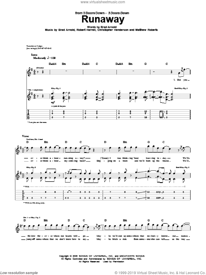 Runaway sheet music for guitar (tablature) by 3 Doors Down. Score Image Preview.