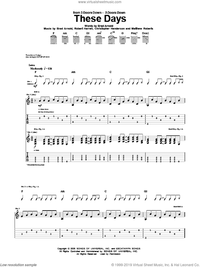 These Days sheet music for guitar (tablature) by Robert Harrell and 3 Doors Down. Score Image Preview.