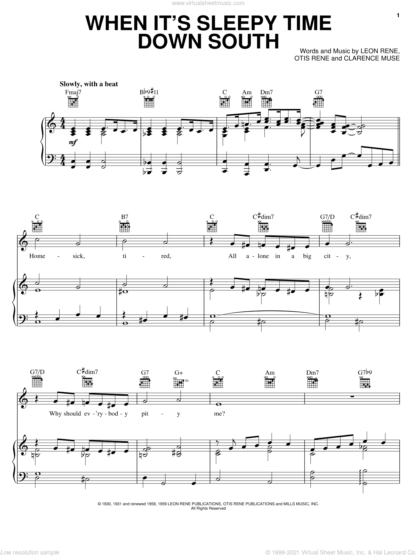 When It's Sleepy Time Down South sheet music for voice, piano or guitar by Louis Armstrong, Sidney Bechet, Clarence Muse, Leon Rene and Otis Rene, intermediate skill level