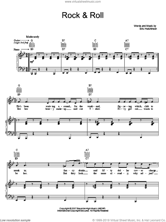 Rock and Roll sheet music for voice, piano or guitar by Eric Hutchinson, intermediate skill level