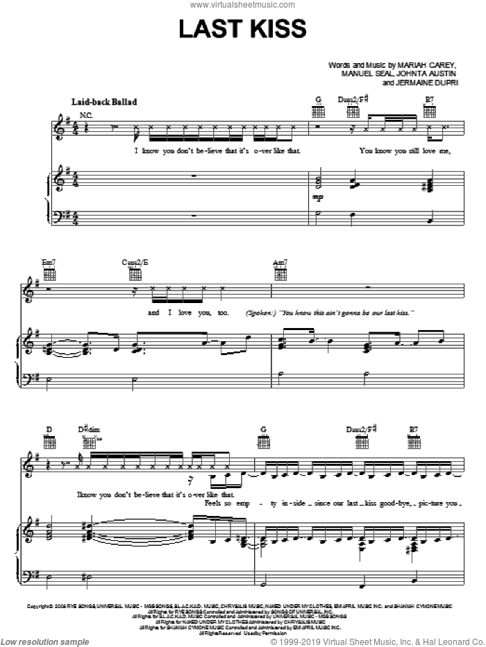 Last Kiss sheet music for voice, piano or guitar by Mariah Carey, Jermaine Dupri, Johnta Austin and Manuel Seal, intermediate voice, piano or guitar. Score Image Preview.