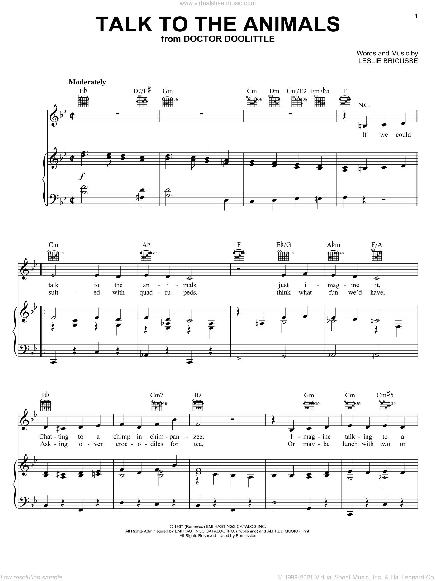 Talk To The Animals sheet music for voice, piano or guitar by Bobby Darin, Roger Williams, Sammy Davis, Jr. and Leslie Bricusse, intermediate skill level