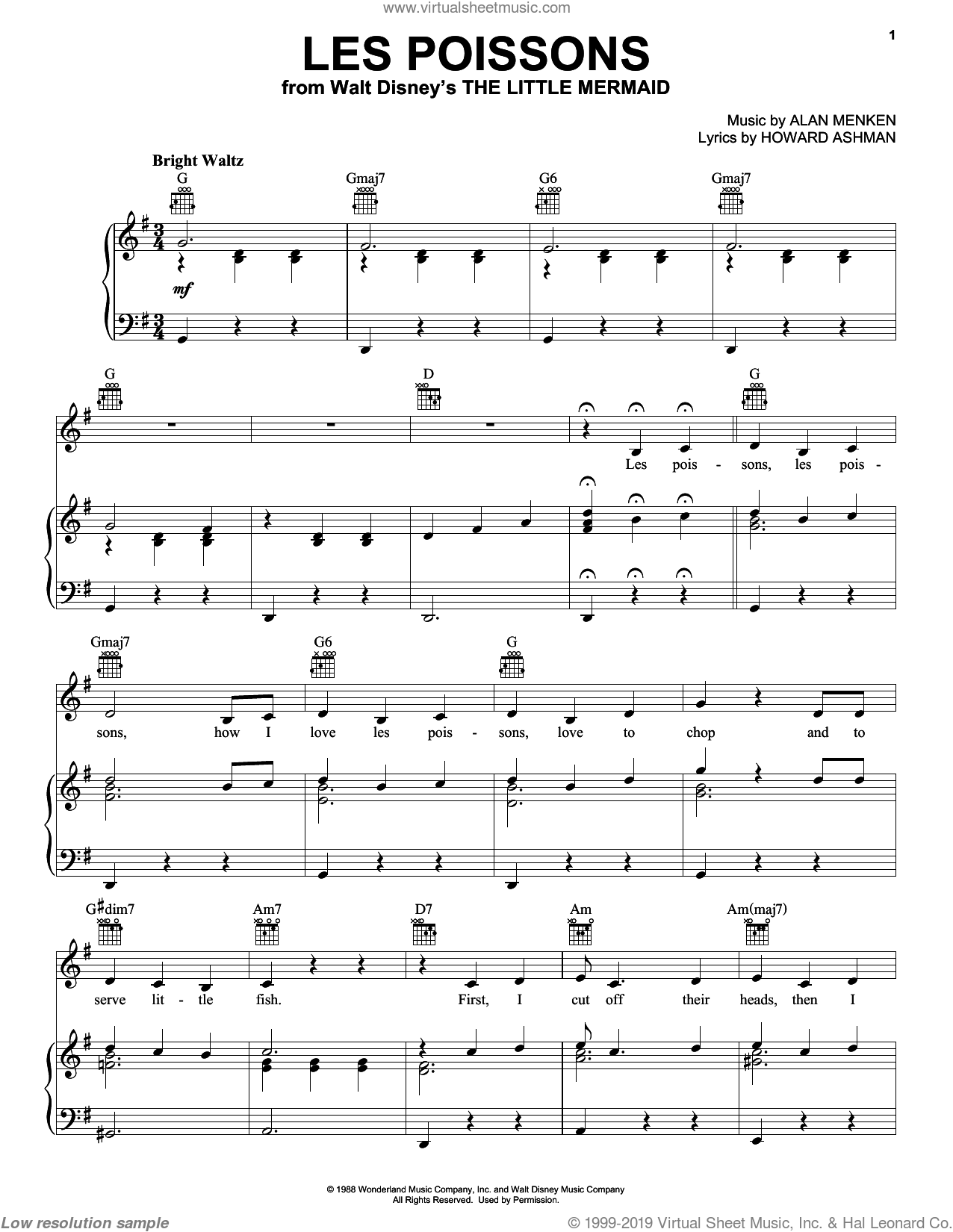 Les Poissons (from The Little Mermaid) sheet music for voice, piano or guitar by Alan Menken, The Little Mermaid (Movie) and Howard Ashman, intermediate skill level