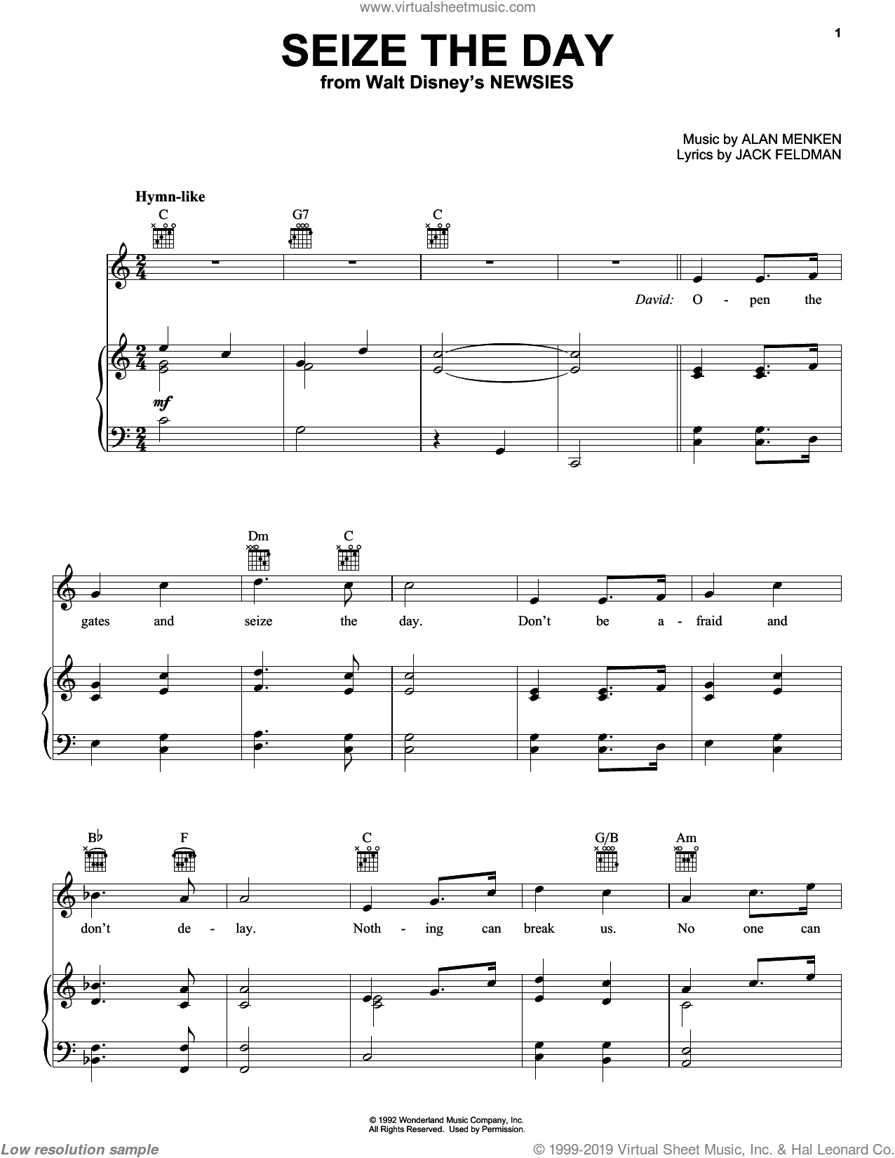 Seize The Day sheet music for voice, piano or guitar by Alan Menken and Jack Feldman, intermediate voice, piano or guitar. Score Image Preview.