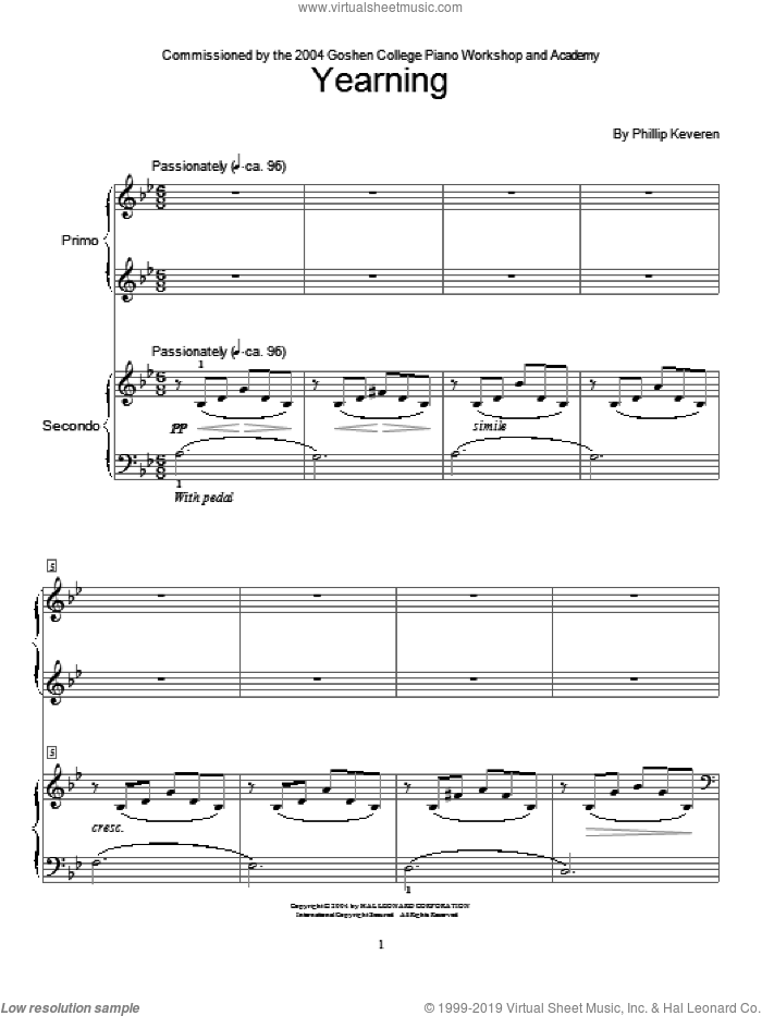 Yearning (Piano Duet) sheet music for piano solo (elementary) by Phillip Keveren and Miscellaneous, beginner piano (elementary)