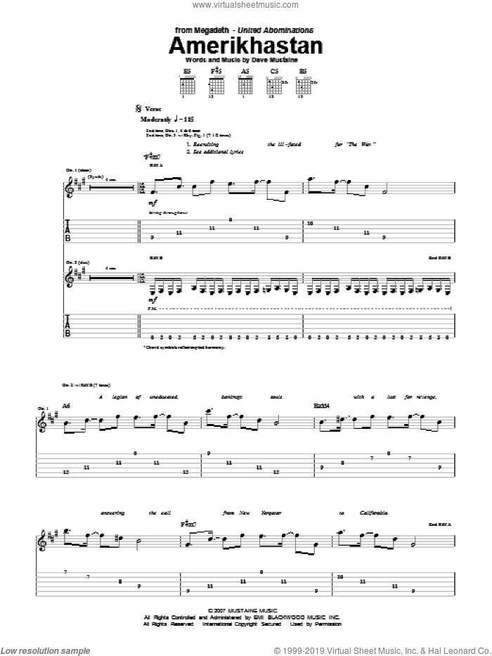 Amerikhastan sheet music for guitar (tablature) by Dave Mustaine and Megadeth. Score Image Preview.