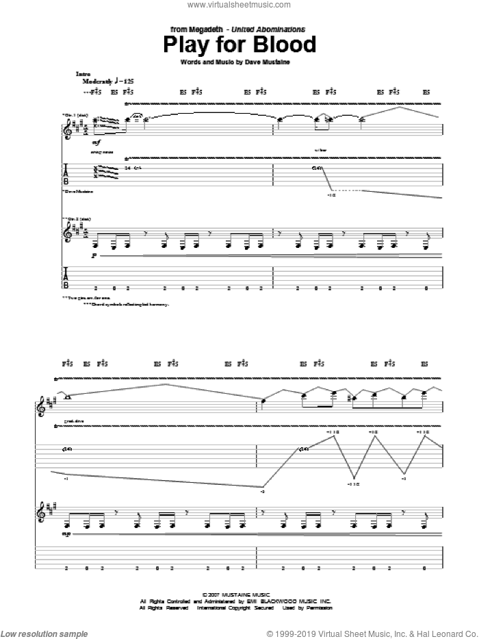 Play For Blood sheet music for guitar (tablature) by Dave Mustaine and Megadeth. Score Image Preview.