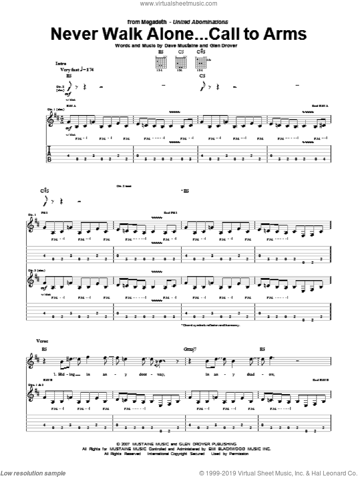 Never Walk Alone...Call To Arms sheet music for guitar (tablature) by Megadeth, Dave Mustaine and Glen Drover, intermediate