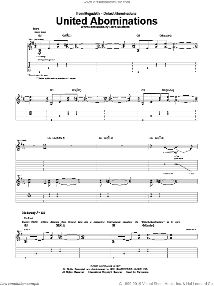 United Abominations sheet music for guitar (tablature) by Megadeth and Dave Mustaine, intermediate skill level