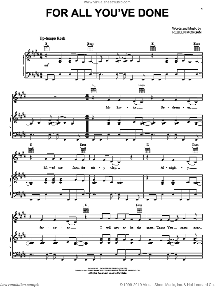For All You've Done sheet music for voice, piano or guitar by Reuben Morgan, intermediate