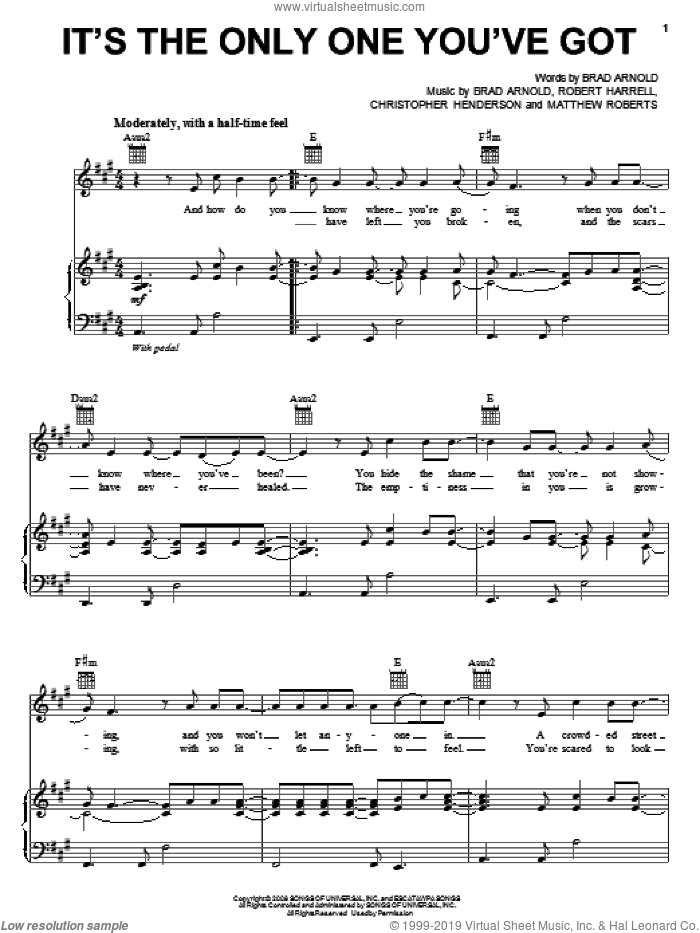 It's The Only One You've Got sheet music for voice, piano or guitar by 3 Doors Down. Score Image Preview.