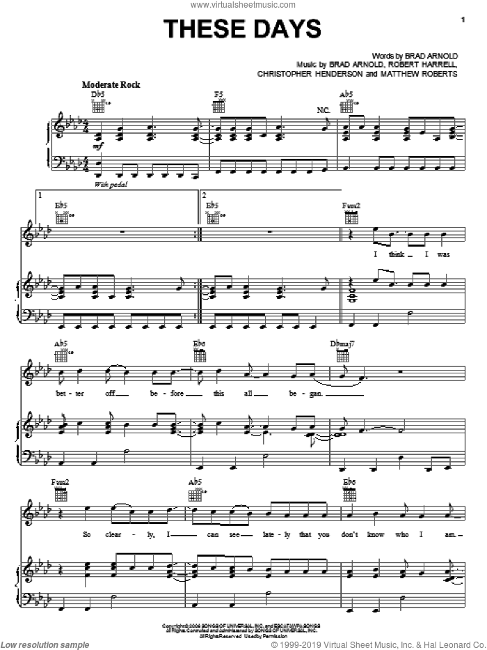 These Days sheet music for voice, piano or guitar by 3 Doors Down, Brad Arnold, Christopher Henderson, Matthew Roberts and Robert Harrell, intermediate skill level