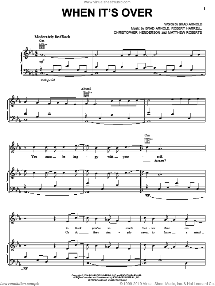 When It's Over sheet music for voice, piano or guitar by 3 Doors Down, Brad Arnold, Christopher Henderson, Matthew Roberts and Robert Harrell, intermediate