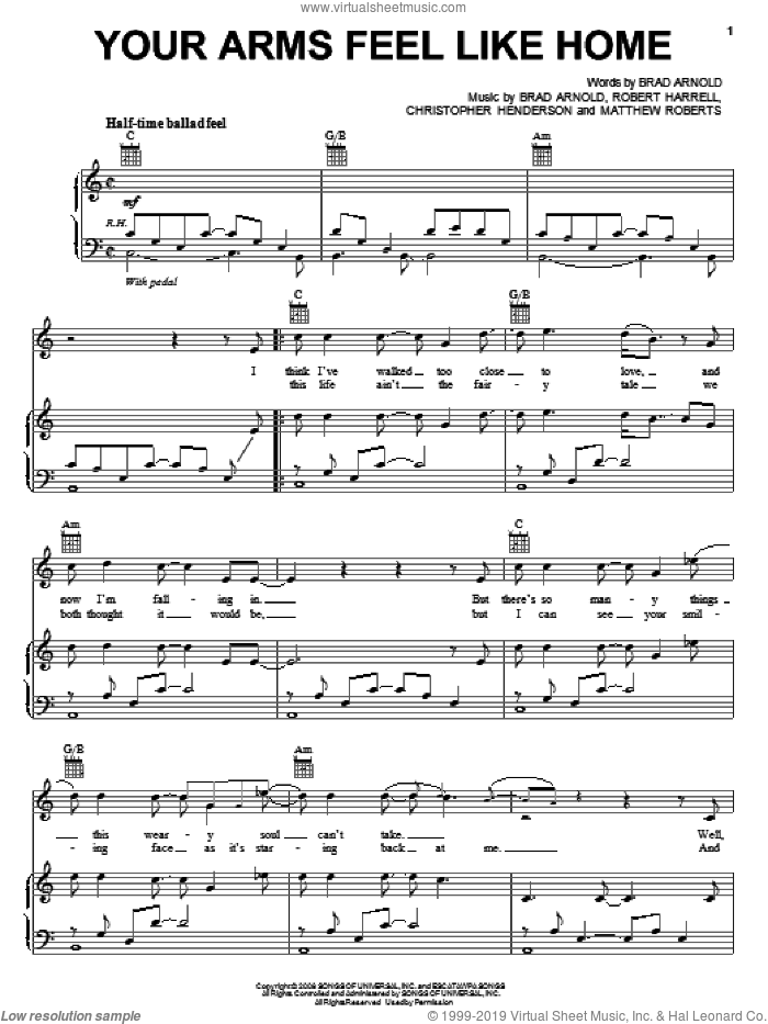 Your Arms Feel Like Home sheet music for voice, piano or guitar by 3 Doors Down, Brad Arnold, Christopher Henderson, Matthew Roberts and Robert Harrell, intermediate skill level
