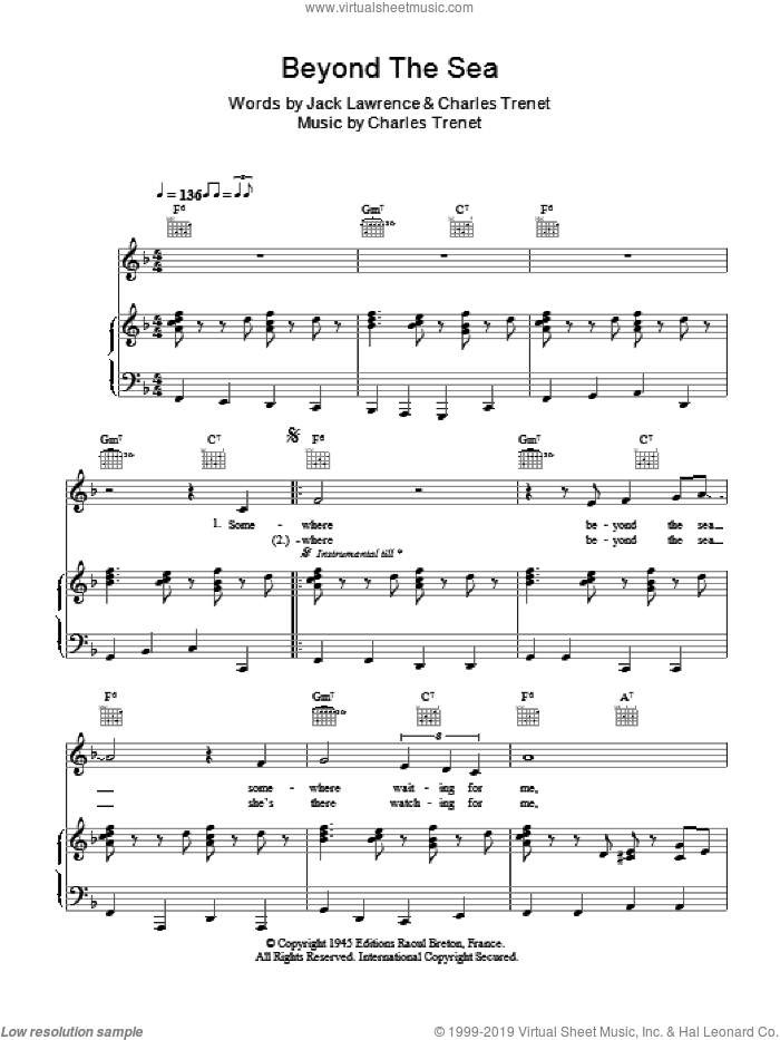 Beyond The Sea sheet music for voice, piano or guitar by Charles Trenet