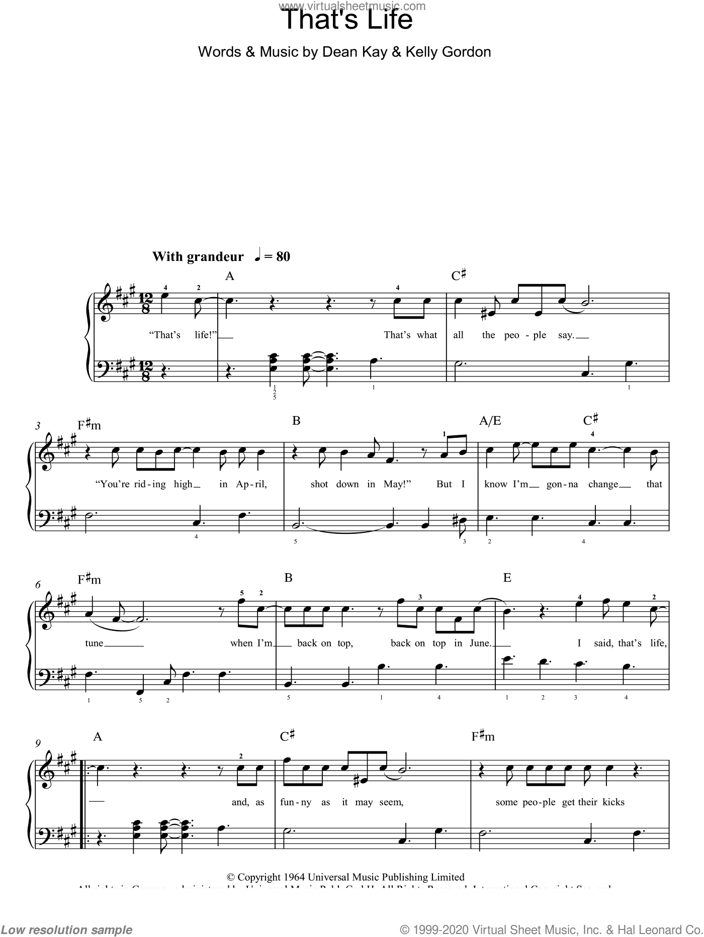 That's Life sheet music for piano solo (chords) by Dean Kay