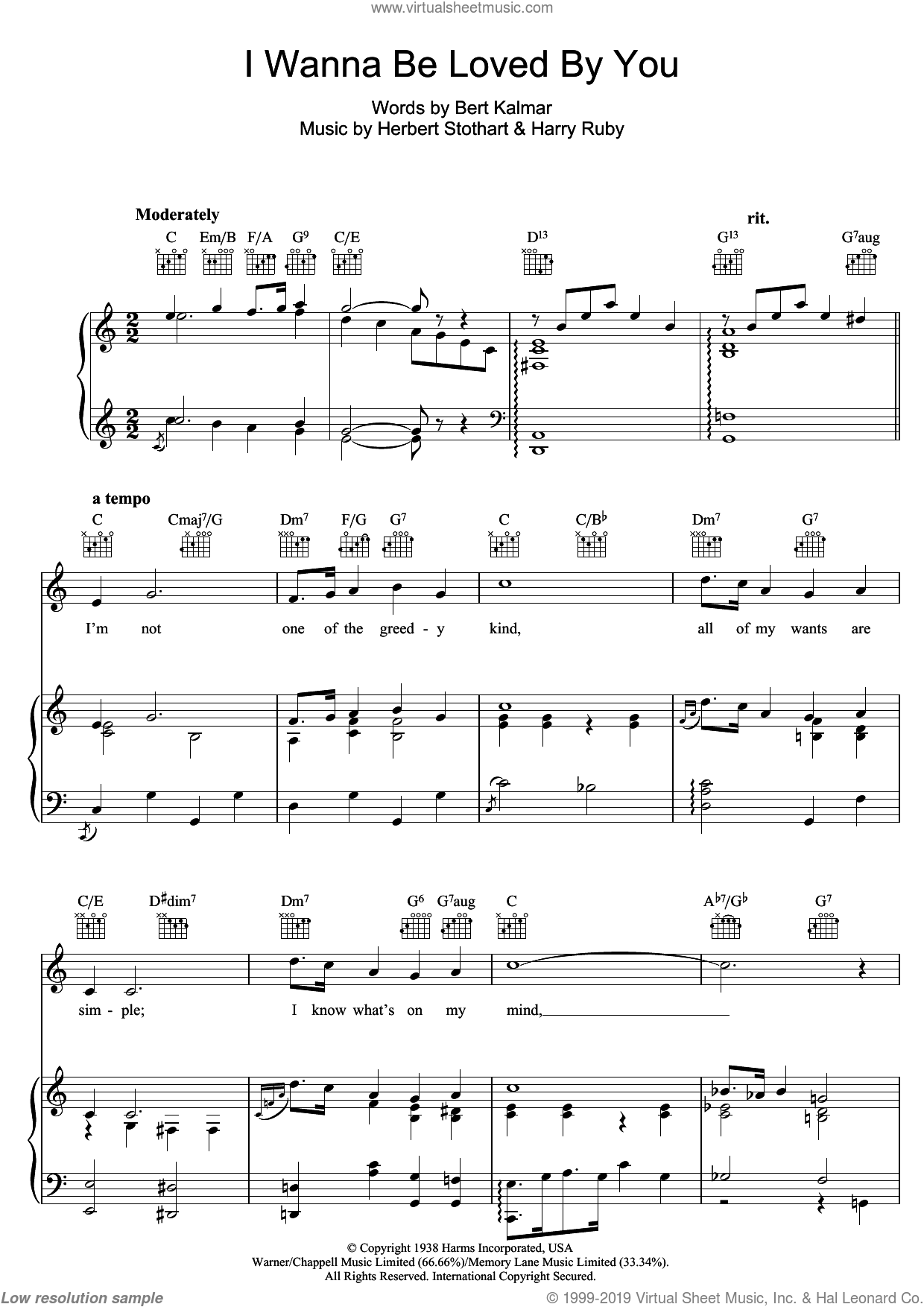 I Wanna Be Loved By You sheet music for voice, piano or guitar by Harry Ruby, Marilyn Monroe, Herbert Stothart and Bert Kalmar. Score Image Preview.