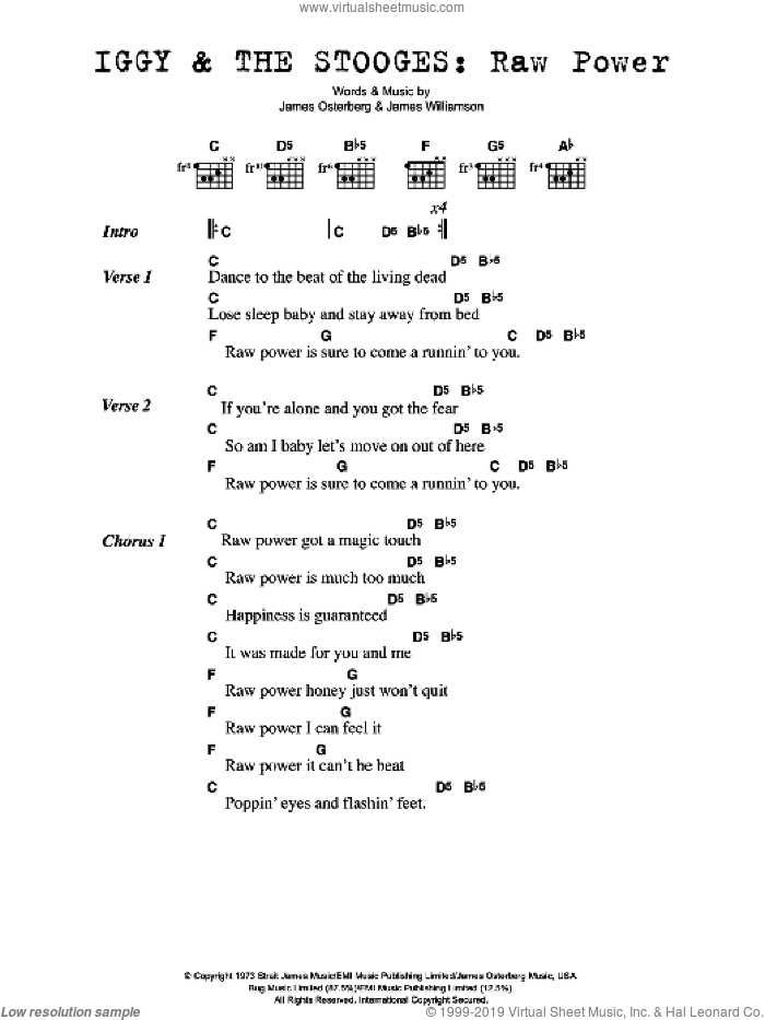 Raw Power sheet music for guitar (chords) by James Williamson and Iggy Pop. Score Image Preview.