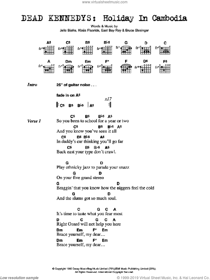 Holiday In Cambodia sheet music for guitar (chords, lyrics, melody) by Bruce Slesinger