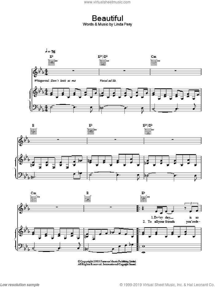 Beautiful sheet music for voice, piano or guitar by Christina Aguilera and Linda Perry, intermediate. Score Image Preview.