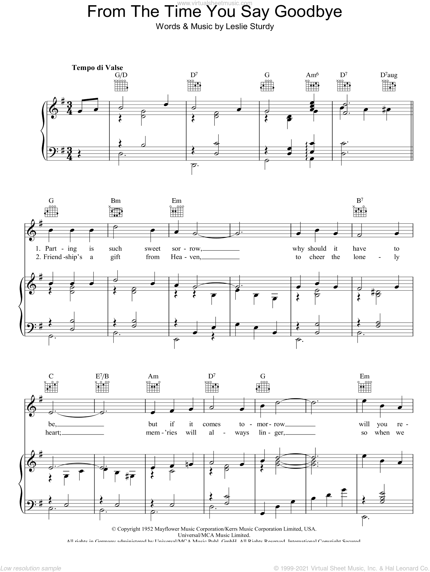 From The Time You Say Goodbye sheet music for voice, piano or guitar by Vera Lynn and Leslie Sturdy, intermediate skill level