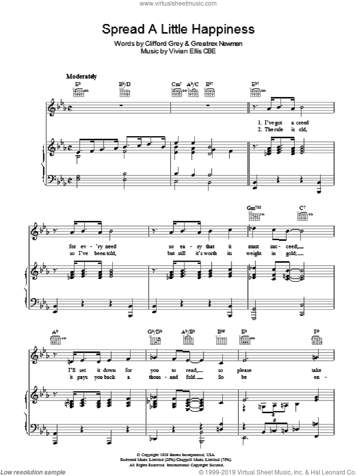 Spread A Little Happiness sheet music for voice, piano or guitar by Clifford Grey, Vivian Ellis and Greatrex Newman, intermediate skill level