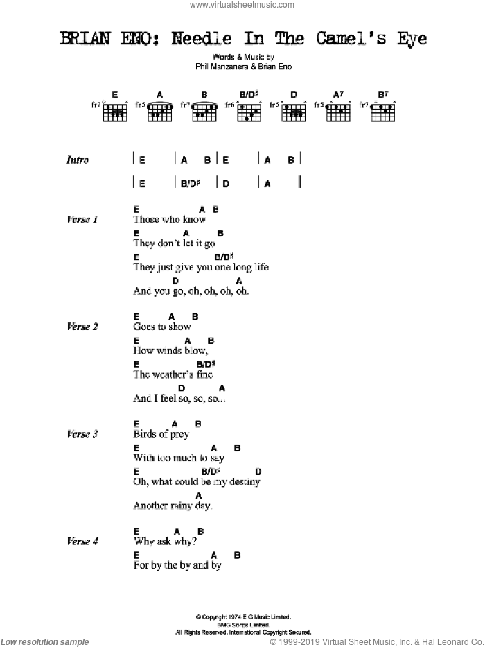 Needle In The Camel's Eye sheet music for guitar (chords) by Brian Eno and Phil Manzanera, intermediate